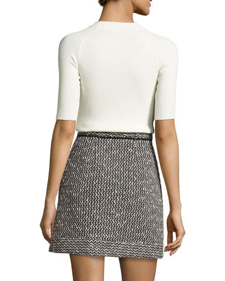Jersey & Tweed Mini Dress, Multicolor