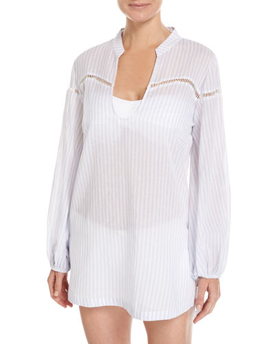 Into You Striped Beach Coverup Shirt, White