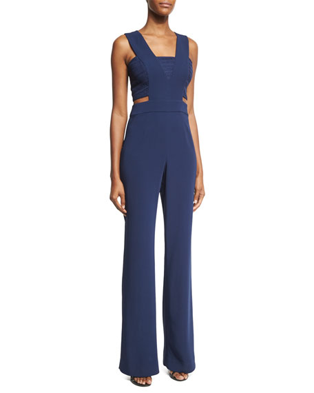 Ramy Brook Amanda Sleeveless Crepe Jumpsuit, Navy
