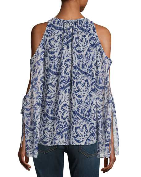 Norma Cold-Shoulder Brushstroke-Print Silk Top, Ivory/Navy