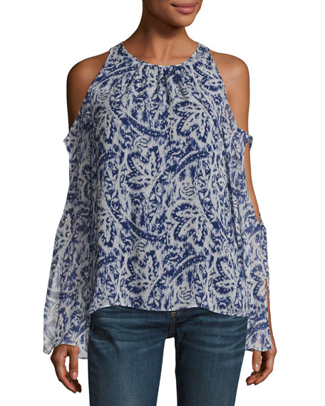 Ramy Brook Norma Cold-Shoulder Brushstroke-Print Silk Top,