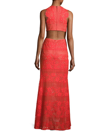 BCBGMAXAZRIA Merida Cutout-Back Floral Lace Gown, Bright Poppy