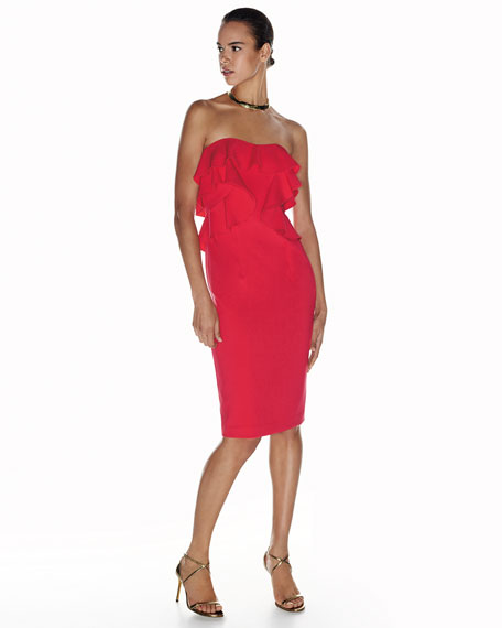 Strapless Ruffle-Trim Ponte Cocktail Dress, Chic Red