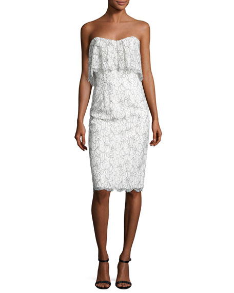 Black Halo Strapless Lace Popover Cocktail Dress, White/Black