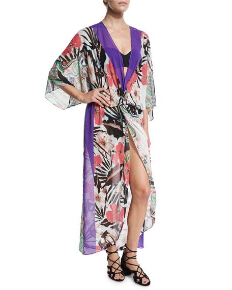 Etro Floral-Print Chiffon Beach Kimono, Multicolor