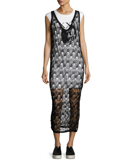 McQ Alexander McQueen 2-in-1 Sheer Netted V-Neck Midi