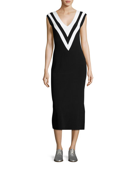Rag & Bone Daphne V-Neck Sleeveless Midi Sweaterdress,