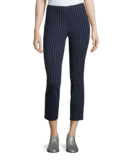 Simone Pinstripe High-Waist Cropped Leggings, Navy/White