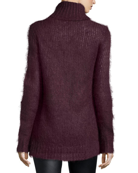 Mohair-Blend Turtleneck Sweater, Bordeaux