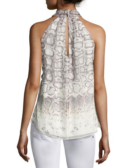 The New Morrison Snakeskin-Print Sleeveless Top, Natural/Gray