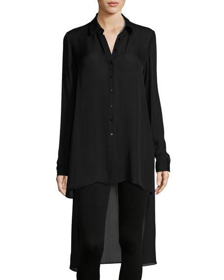 The Caravan Silk High-Low Blouse, Black