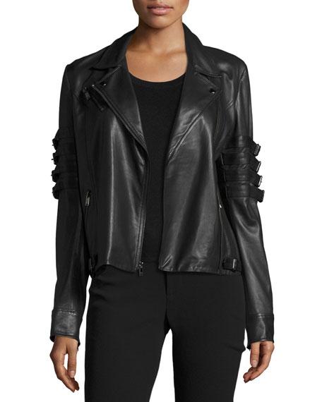 Black flag band leather jacket