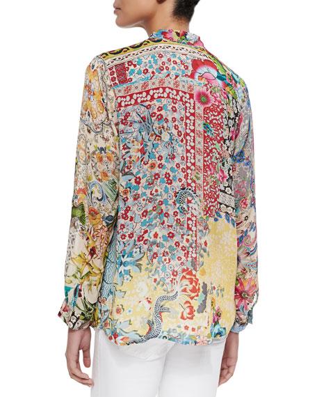 Milla Long-Sleeve Floral-Print Blouse, Petite