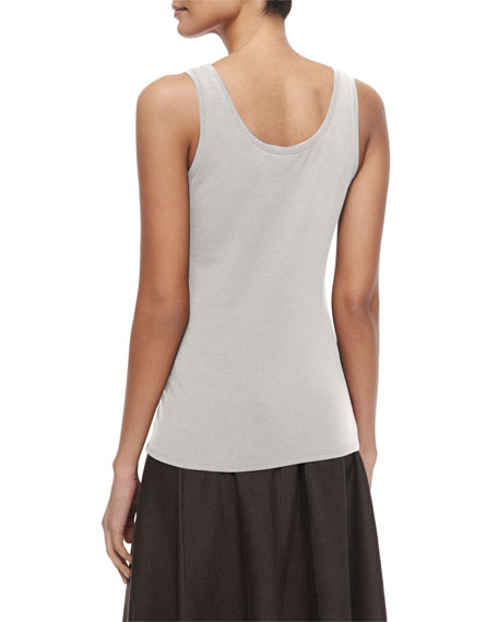 Perfect Jersey Scoop-Neck Tank, Silver Cloud