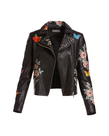 Neiman Marcus Painted Floral Leather Jacket W Embroidered