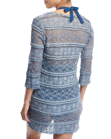 Cybella 3/4-Sleeve Lace Coverup Dress, Blue