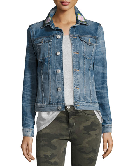 Hudson The Classic Denim Jacket with Rose Embroidery,