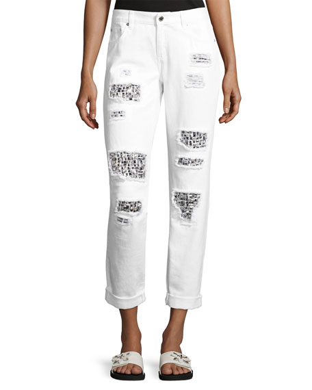 MICHAEL Michael Kors Distressed Relaxed-Fit Cuffed Jeans, White