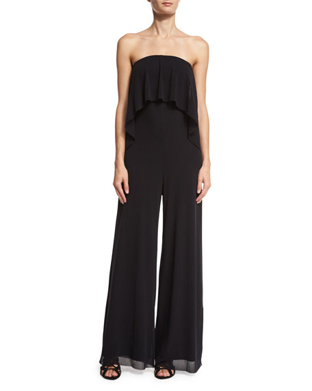 Ruffled Off-the-Shoulder Wide-Leg Jumpsuit, Black