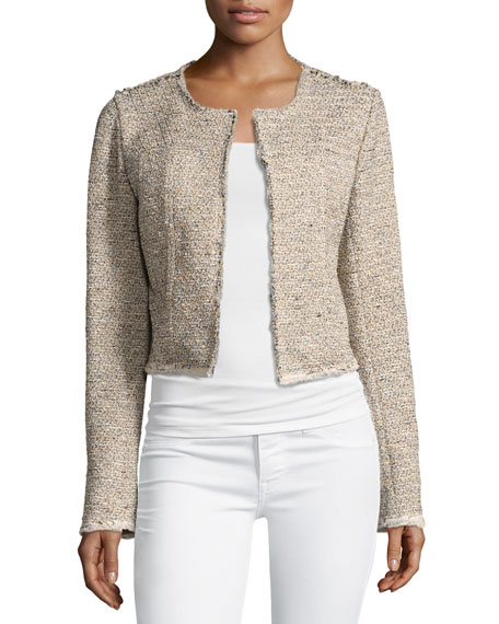 Theory Ualana Comprised Tweed Jacket Beige Neiman Marcus