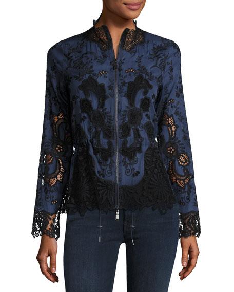 Elie Tahari Ansel Lace-Trimmed Jacket, Multi