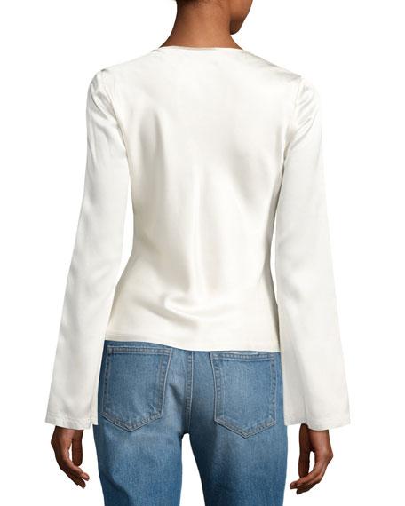 Long-Sleeve Knotted Silk Habutai Blouse, White