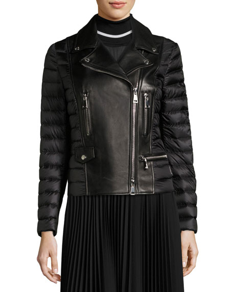 Souci Mixed-Media Leather Moto Jacket, Black