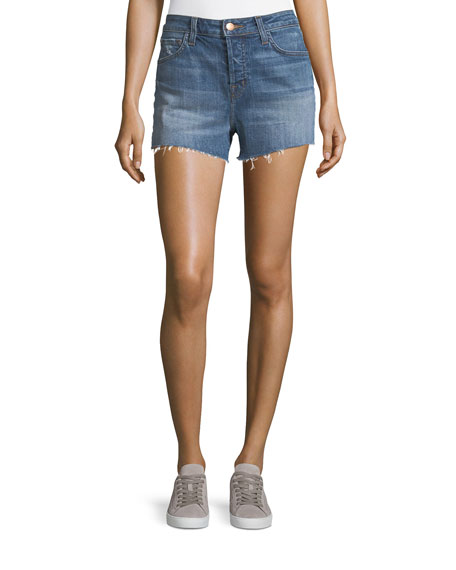 J Brand Gracie High-Rise Cuffed Shorts, Metropolis