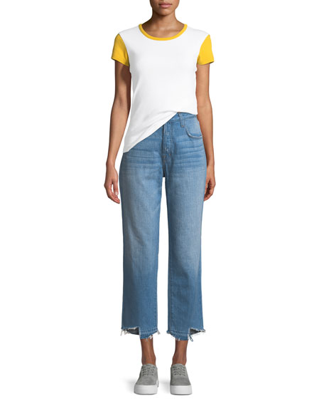 Ivy High-Rise Straight Leg Denim Jeans, Blue