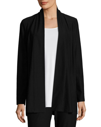 Lightweight Washable Stretch-Crepe Topper Jacket/Cardi  Black