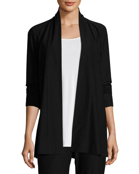 Eileen Fisher Plus Size Lightweight Washable Stretch-Crepe Topper Cardi, Black