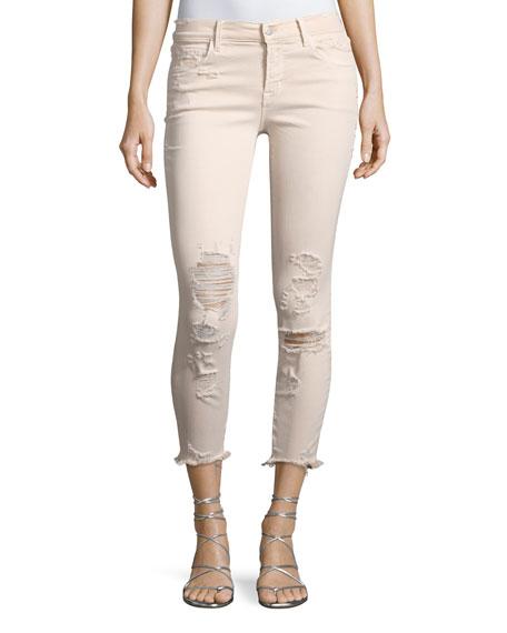 J Brand 825 Mid-Rise Distressed Capri Skinny Jeans,