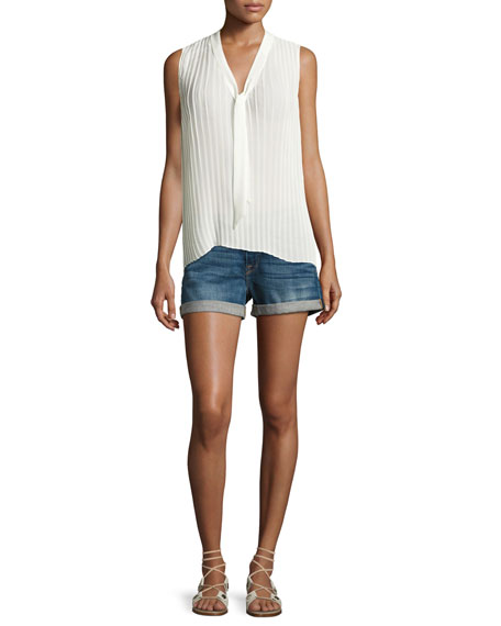 Pleated Sleeveless Tie-Neck Blouse, Off White