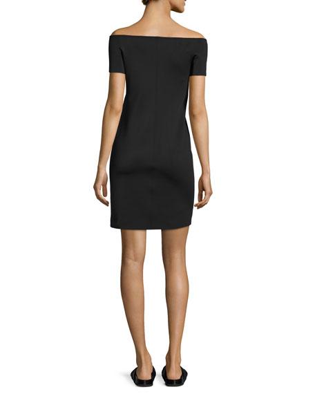 Off-the-Shoulder Ponte Shift Dress