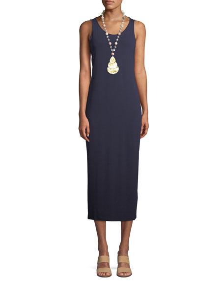 Eileen Fisher Jersey Scoop-Neck Midi Dress, Black, Plus