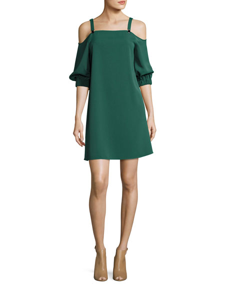 Tibi Drape Twill Cold-Shoulder 3/4-Sleeve Shift Dress, Green