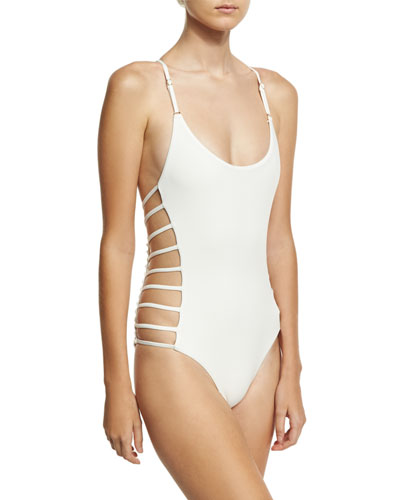 Free Spirit Lace-Back Strappy Maillot Swimsuit, White