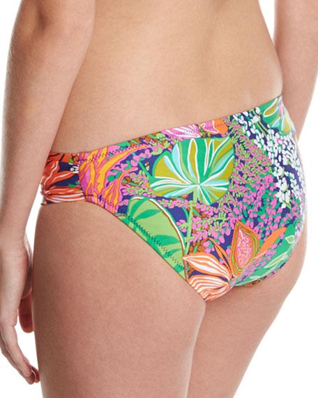 Tropic Escape Shirred-Side Hipster Swim Bottom, Multicolor
