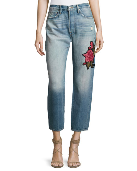 FRAME Le Original Patch Jeans, Rose Lake