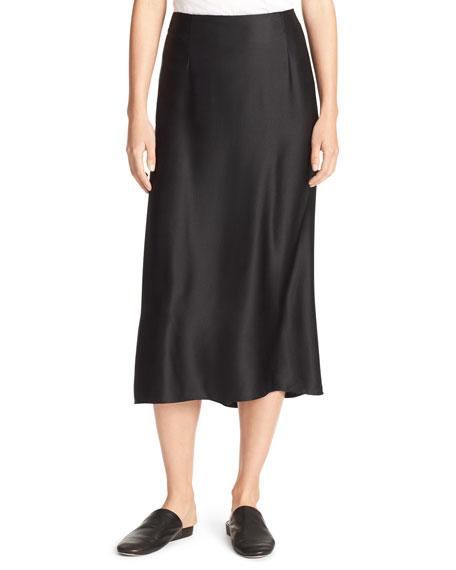 Silk-Satin Bias-Cut Midi-Length Slip Skirt, Black
