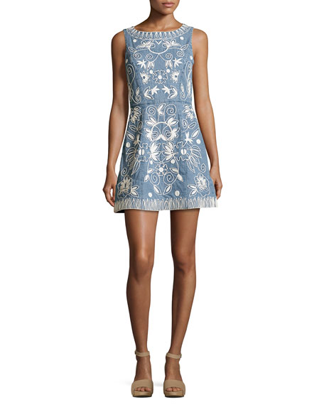 Lindsey Embroidered A-Line Denim Mini Dress, Indigo/White