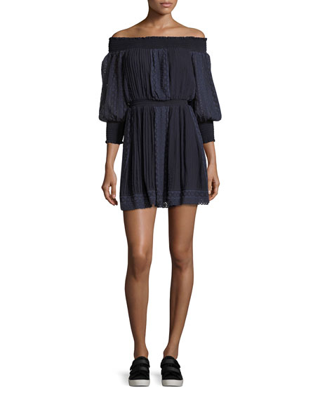 Alice + Olivia Pammy Off-the-Shoulder Lace-Trim Mini Dress,