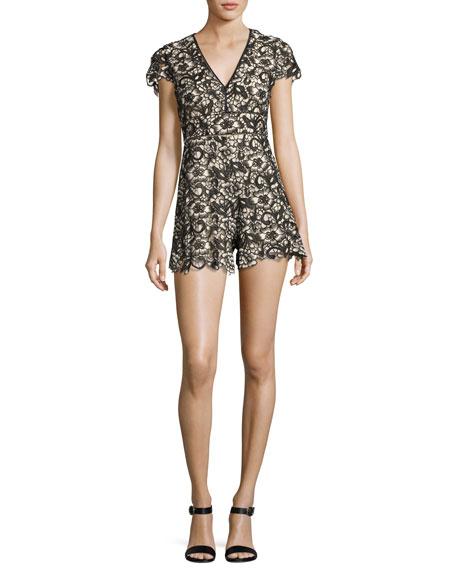 Alice + Olivia Tinsley V-Neck Lace Romper, Black/Beige