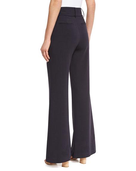 Paulette High-Waist Wide-Leg Pants, Navy