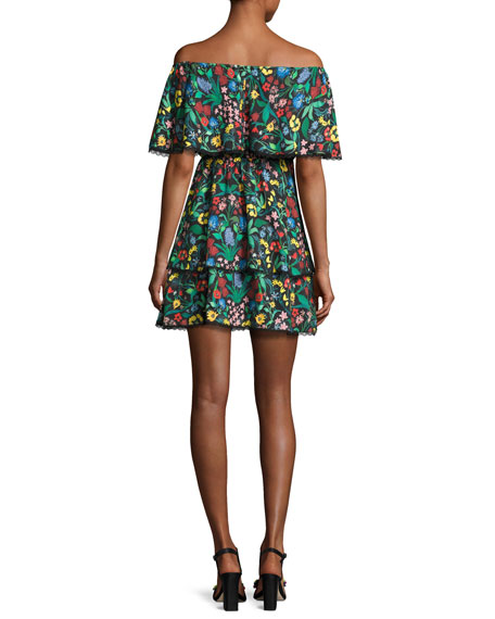 Tylie Floral-Print Off-the-Shoulder Ruffle Mini Dress, Multicolor