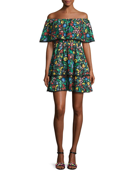 Alice + Olivia Tylie Floral-Print Off-the-Shoulder Ruffle Mini