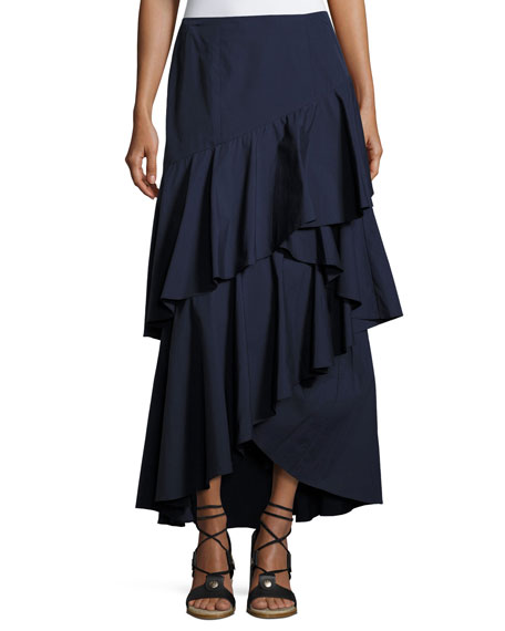 Alice + Olivia Martina Asymmetric Ruffle High-Low Maxi