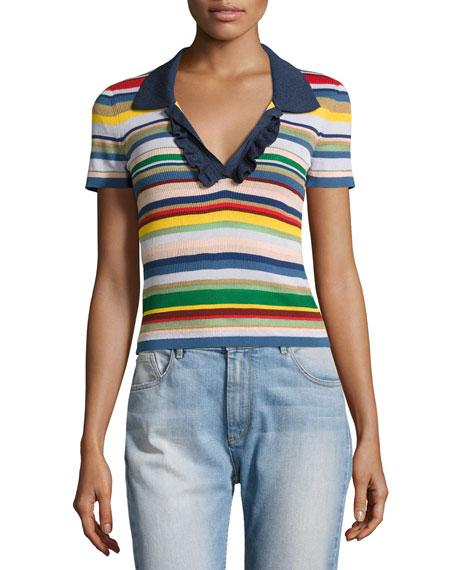 Alice + Olivia Martha Striped Ruffle-Trim Polo Shirt,