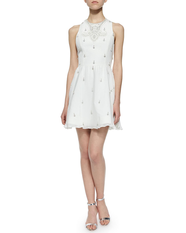 fbf0f7984ee Alice + Olivia Gilda Embellished Lace-Back Dress