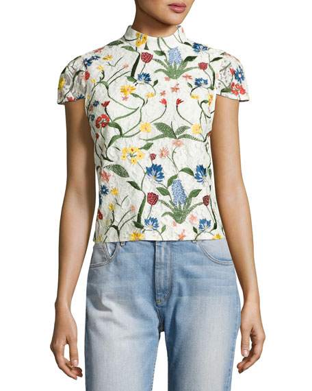 Alice + Olivia Viktoria Floral-Embroidered Lace High-Neck Top,